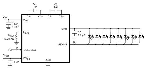 以NCP5005為例,它是一款緊湊型高效率背光LED升壓驅動器,提供高達22 V電壓,可為LCD背光控制、鍵盤背光等應用的2至5個串列白光LED供電。其能效高達90%,關機電流1 A,工作輸入電壓範圍為2.7 V至5.5 V。它內置短路和過壓保護及欠壓切斷功能。其電流可自動匹配LCD,所有引腳均為ESD保護,低EMI輻射。 而在電感降壓型拓撲結構方案,安森美半導體提供輸出電流高達1 A的NCP1529白光LED驅動器,應用於手電筒/閃光等應用。 電荷泵型方案 安森美半導體專利的四模(Quad-Mode&#
