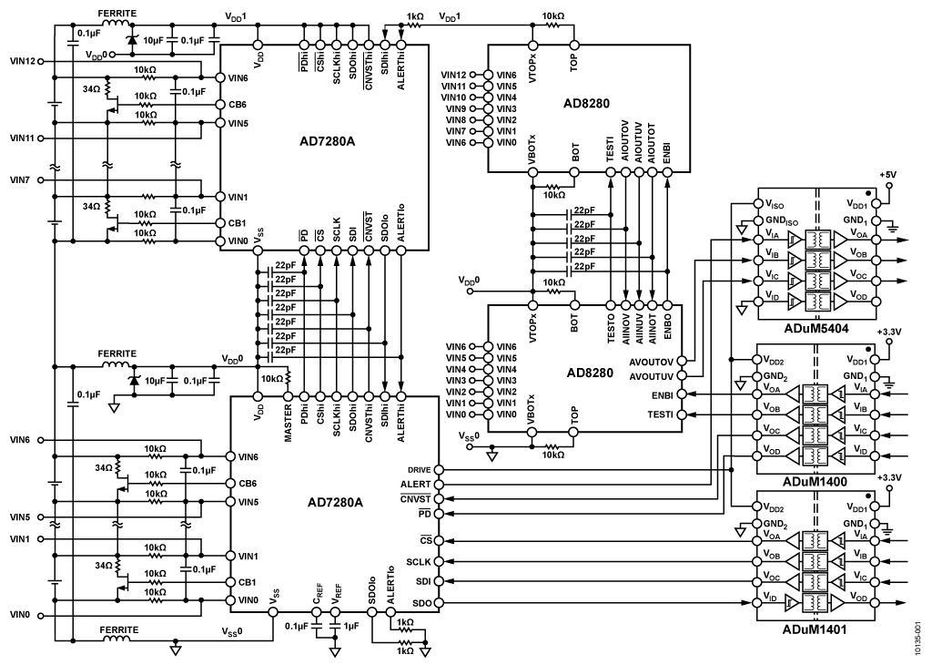 如圖3所示,對於疊層電池模組的監測,如採用AD7280A構成菊輪鍊結構的解決方案,與傳統方案相比,僅需一組隔離通道和一顆微控制器。大大簡化了設計。圖中左側所示為傳統的解決方案,需要使用多路控制器,佔用大量的隔離通道。右側為採用AD7280A的菊輪鍊解決方案,僅需為最底部的器件設計一組隔離器通道。 AD7280A採用ADI專利技術實現疊層電池應用所需的菊輪鍊工作模式,初始化的過程賦予鏈路中的晶片以不同的位址,其中一顆晶片被選為主機,直接與DSP或微控制器通信,主機獲取通信信號後,將信號通過鏈路逐級傳播,與傳