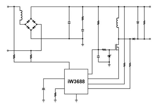图3 : 采用iw3688控制器建置的整流器,电流控制与led驱动器电路