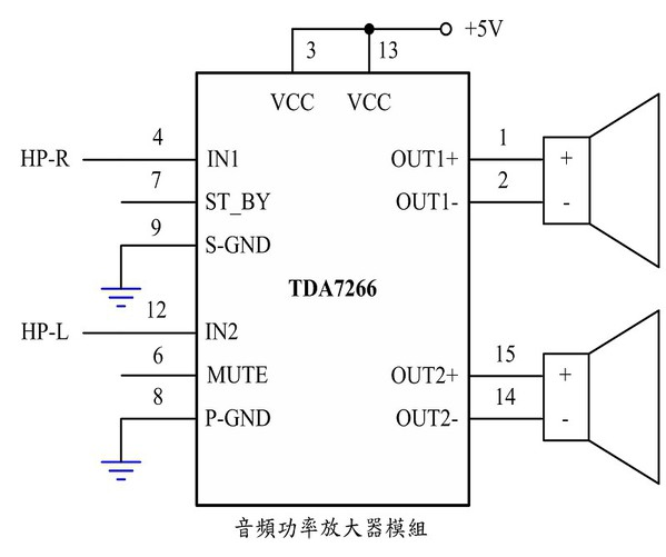 图5 : 音频放大器模组之控制电路图