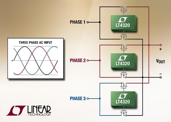 凌力尔特3相理想二极体桥接整流器简化散热设计
