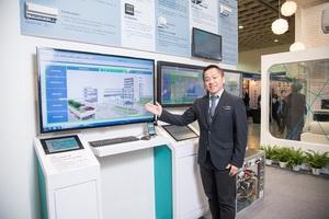 西門子樓宇科技事業部控制產品與系統處協理樂建鐸展示西門子今年新亮點,推出最新全方位樓宇管理與控制平台「Desigo CC」。