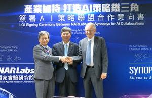 科技部、國研院與新思科技於簽訂AI策略聯盟合作意向書之後合影