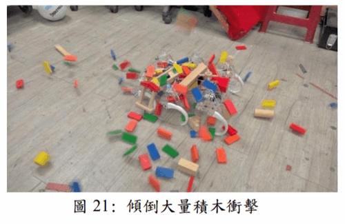 圖 21: 傾倒大量積木衝擊