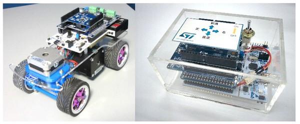 圖9 :  STM32 Nucleo玩具小汽車:玩具小汽車展示板和3D遙控器都是採用STM32 Nucleo電路板