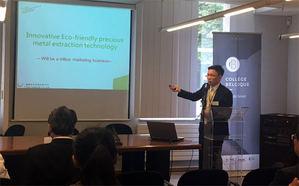 優勝奈米總經理許景翔在比利時歐盟總部演講時,以「創新環保貴金屬回收技術 - 兆級規模的市場」 為題,強調廢棄電子的貴金屬回收將是循環經濟中不可或缺且充滿商機的事業。